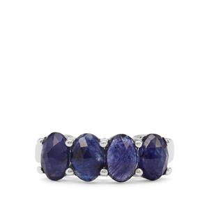 Rose cut Blue Blue Sapphire Ring in Sterling Silver 3.72cts