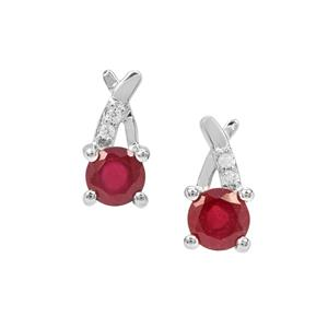 Malagasy Ruby Earrings with White Zircon in Sterling Silver 1.55cts