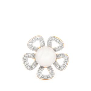 Kaori Cultured Pearl & White Topaz Sterling Gold Plated Silver Ring (10mm)