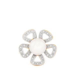Kaori Cultured Pearl Ring with White Topaz in Gold Plated Sterling Silver (10mm)