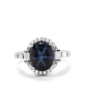 Siam Blue Star Sapphire & White Zircon Sterling Silver Ring ATGW 7.61cts