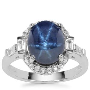 Siam Blue Star Sapphire Ring with White Zircon in Sterling Silver 7.61cts