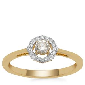 Natural Yellow Diamond Ring with White Diamond in 18K Gold 0.36ct