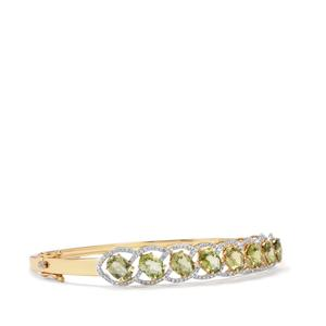 Cuprian Tourmaline Oval Bangle with Diamond in 18K Gold 6cts