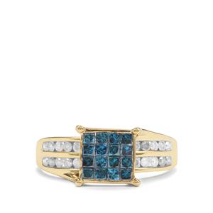 1ct Blue & White Diamond 9K Gold Tomas Rae Ring