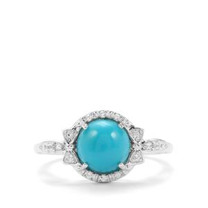 Sleeping Beauty Turquoise Ring with White Topaz in Sterling Silver 1.77cts