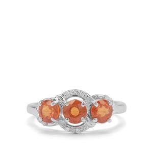 Mandarin Garnet & White Zircon Sterling Silver Ring ATGW 2cts