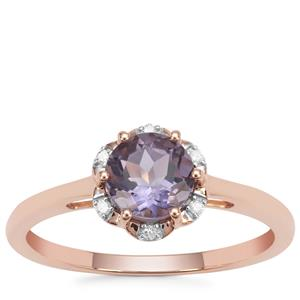 Montezuma Blue Quartz Ring with Diamond in 9K Rose Gold 0.80ct
