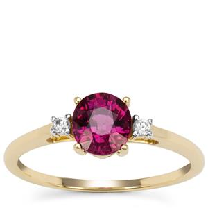 Comeria Garnet Ring with White Zircon in 9K Gold 1.20cts