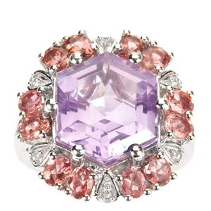 Pink Amethyst Ring with Pink Tourmaline in Sterling Silver 10.78cts