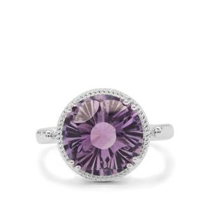 5.90ct Polka Cut Rose De France Amethyst Sterling Silver Ring