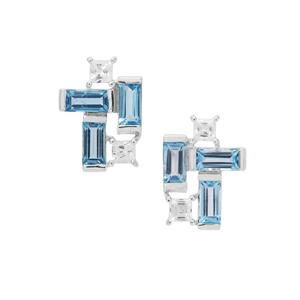 Swiss Blue Topaz & White Zircon Sterling Silver Earrings ATGW 3.38cts