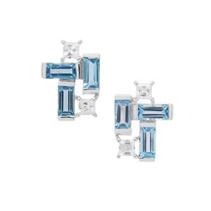 Swiss Blue Topaz Earrings with White Zircon in Sterling Silver 3.38cts