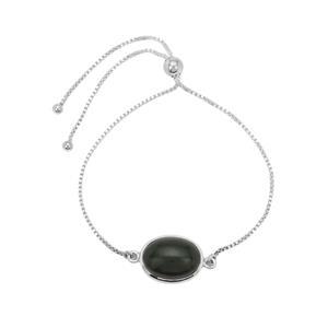 Nephrite Jade Slider Bracelet in Sterling Silver 10.50cts