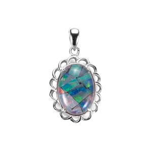 Mosaic Opal Sterling Silver Pendant (14x10mm)