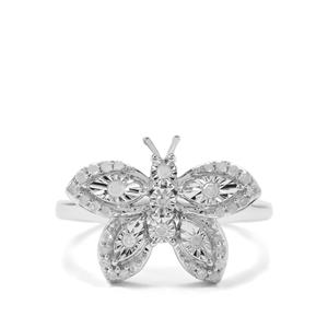1/4ct Diamond Sterling Silver Halo Diamonds Butterfly Ring