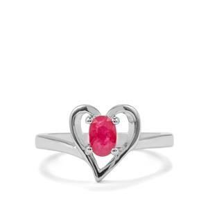 Burmese Ruby Ring  in Sterling Silver 0.53ct