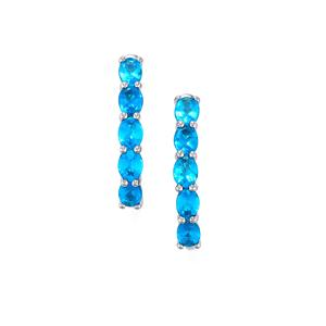 Neon Apatite Earrings in Platinum Plated Sterling Silver 1.82cts