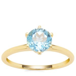 Swiss Blue Topaz Ring in Gold Plated Sterling Silver 1.64cts