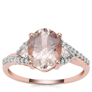 Rose Danburite Ring with White Zircon in 9K Rose Gold 2.99cts