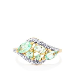 Paraiba Tourmaline Ring with Diamond in 10k Gold 1.15cts