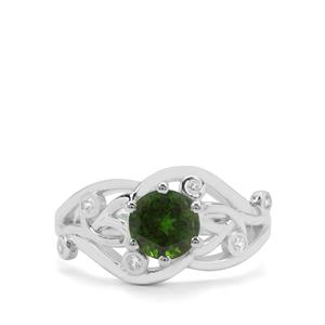 Chrome Diopside & White Zircon Sterling Silver Ring ATGW 1.59cts