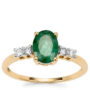 Minas Gerais Emerald Ring with Diamond in 18k Gold 0.95cts