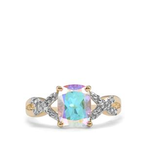 Mercury Mystic Topaz & Diamond 10K Gold Ring ATGW 2.75cts
