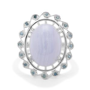 Blue Lace Agate Ring with Marambaia London Blue Topaz in Sterling Silver 9.07cts