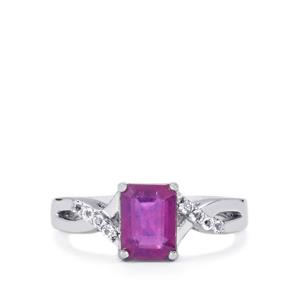 Ilakaka Hot Pink Sapphire Ring with White Topaz in Sterling Silver 2.33cts (F)
