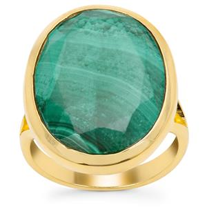 Malachite Ring in Gold Plated Sterling Silver 15.20cts