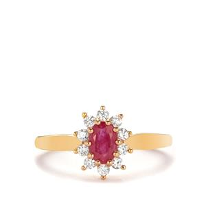 Montepuez Ruby Ring with White Zircon in 9K Gold 0.87cts
