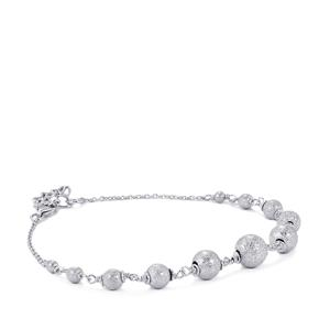 Frosted Bead Bracelet in Sterling Silver