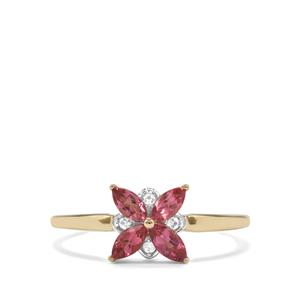 Cruzeiro Pink Tourmaline Ring with White Zircon in 9K Gold 0.46ct