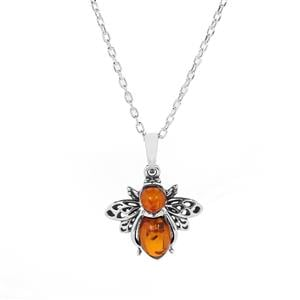 Baltic Cognac Amber Sterling Silver Bee Necklace