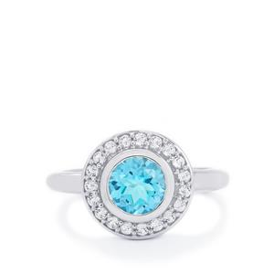 1.83ct Swiss Blue & White Topaz Sterling Silver Ring