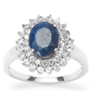 Thai Sapphire Ring with White Zircon in Sterling Silver 2.40cts