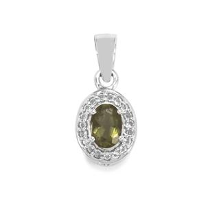 Moldavite Pendant with White Topaz in Sterling Silver 0.84ct