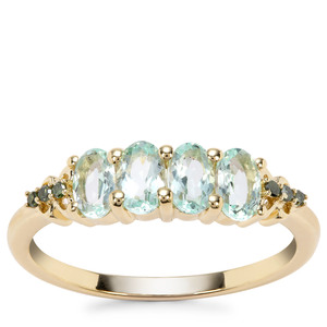 Aquaiba Beryl Ring with Green Diamond in 9K Gold 0.87ct