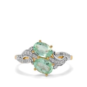 Paraiba Tourmaline Ring with Diamond in 18K Gold 1.42cts
