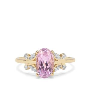 Nuristan Kunzite Ring with White Zircon in 9K Gold 2.33cts