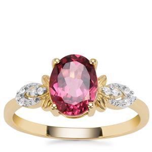 Mahenge Pink Garnet Ring with White Zircon in 9K Gold 2.19cts