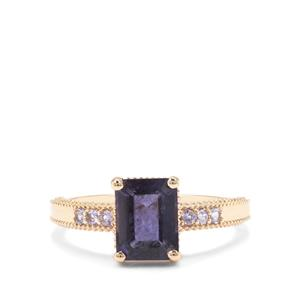 Bengal Iolite Ring with Tanzanite in 9K Gold 1.52cts