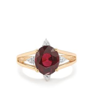 Malawi Garnet Ring with Diamond in 18K Gold 4.66cts