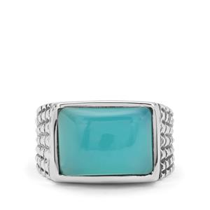 7.30ct Aqua Chalcedony Sterling Silver Ring
