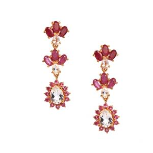 Montepuez Ruby, Optic Quartz & White Toapz Midas Earrings ATGW 8.23cts