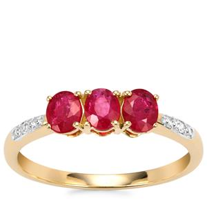 Montepuez Ruby Ring with Diamond in 10k Gold 0.72cts