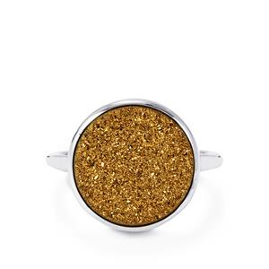 7.50ct Golden Drusy Sterling Silver Aryonna Ring