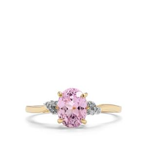 Mawi Kunzite Ring with Diamond in 9K Gold 1.75cts