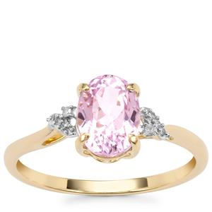 Mawi Kunzite Ring with Diamond in 10k Gold 1.75cts